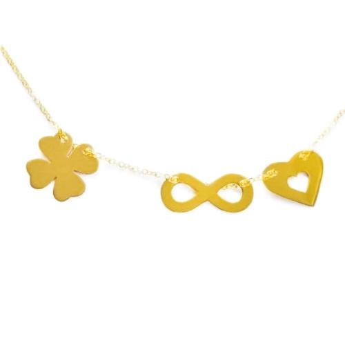 32c5fa41219508 Złoty naszyjnik celebrytka koniczyna koniczynka nieskończoność serce 585