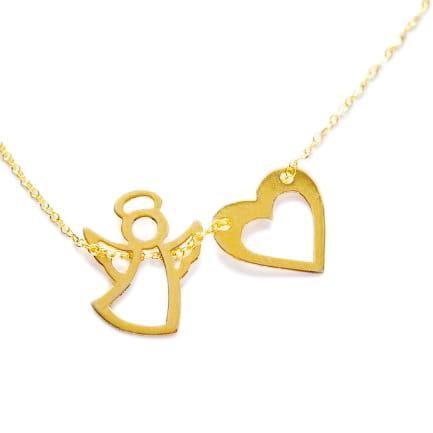 5ec0d14d46cb55 ... złoty naszyjnik łańcuszek celebrytka anioł aniołek serce serca 585 ...